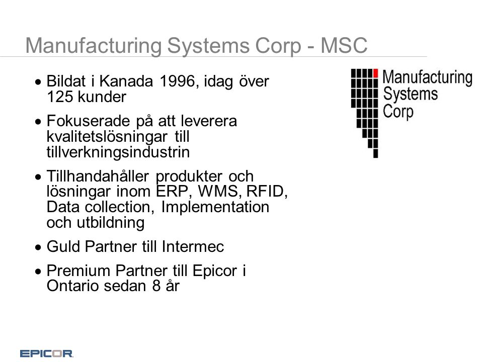 Manufacturing Systems Corp - MSC