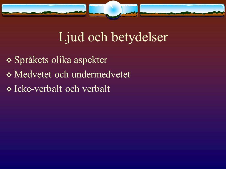 Ljud och betydelser Språkets olika aspekter Medvetet och undermedvetet