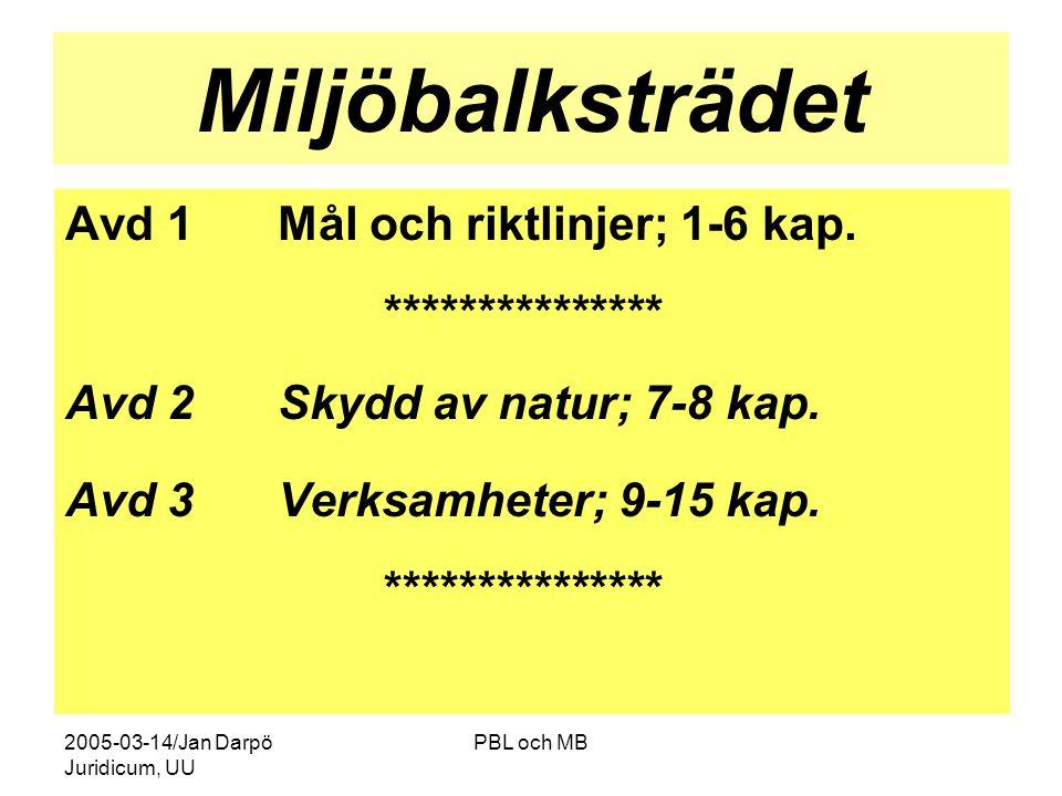 Miljöbalksträdet Avd 1 Mål och riktlinjer; 1-6 kap. ***************