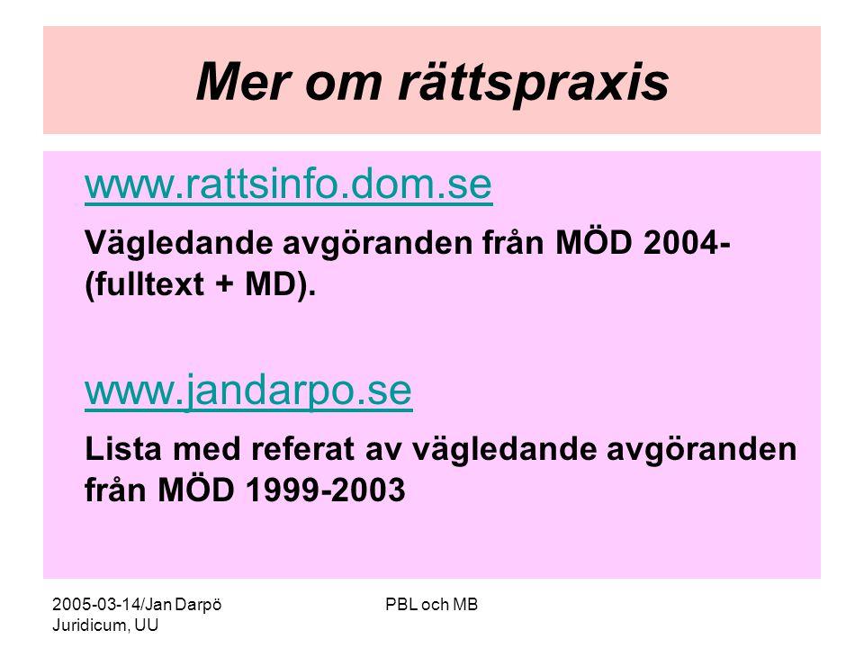 Mer om rättspraxis www.rattsinfo.dom.se