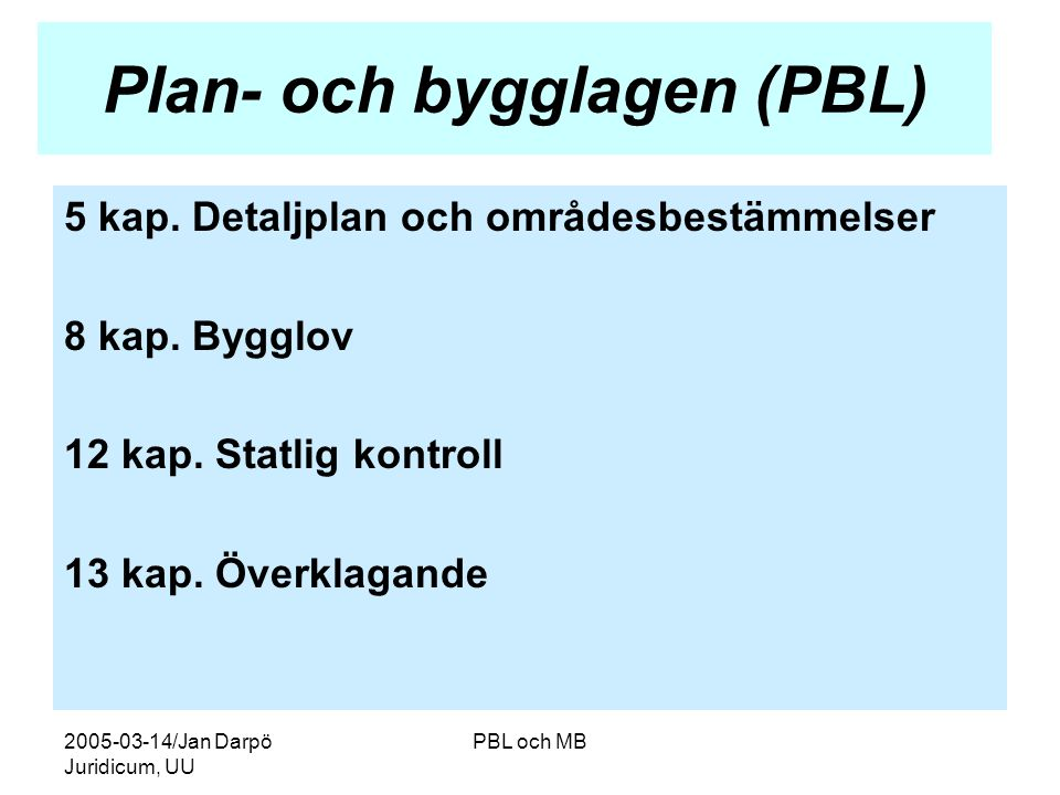Plan- och bygglagen (PBL)