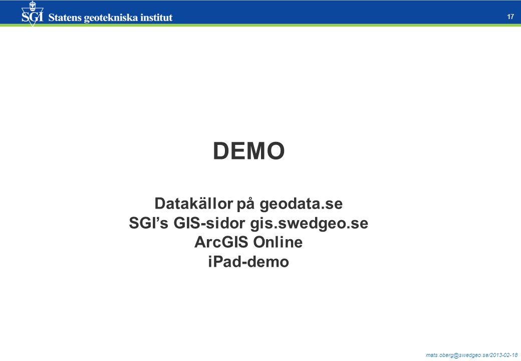Datakällor på geodata.se SGI's GIS-sidor gis.swedgeo.se