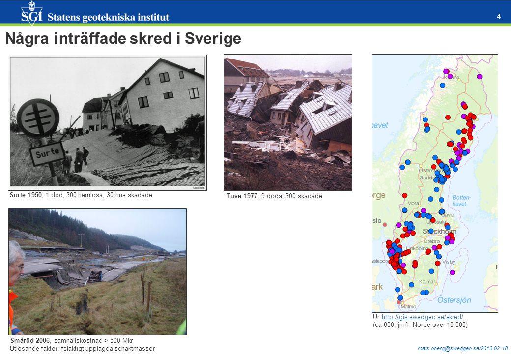 Några inträffade skred i Sverige