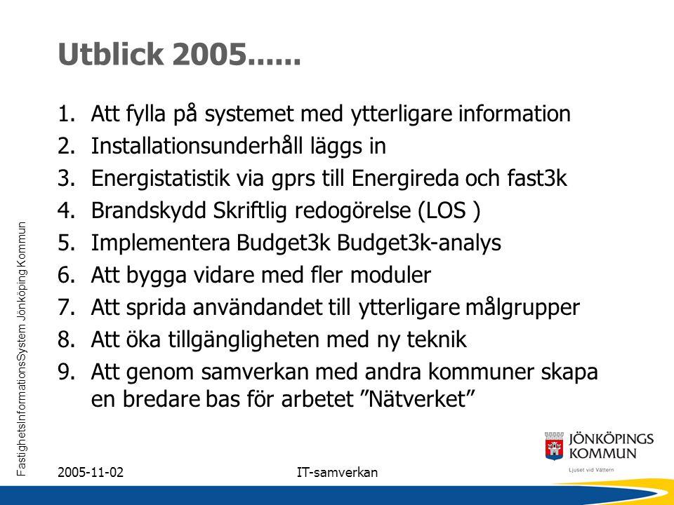 Utblick 2005...... Att fylla på systemet med ytterligare information