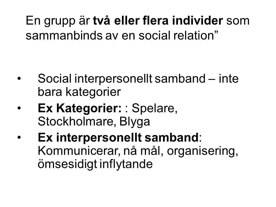 En grupp är två eller flera individer som sammanbinds av en social relation