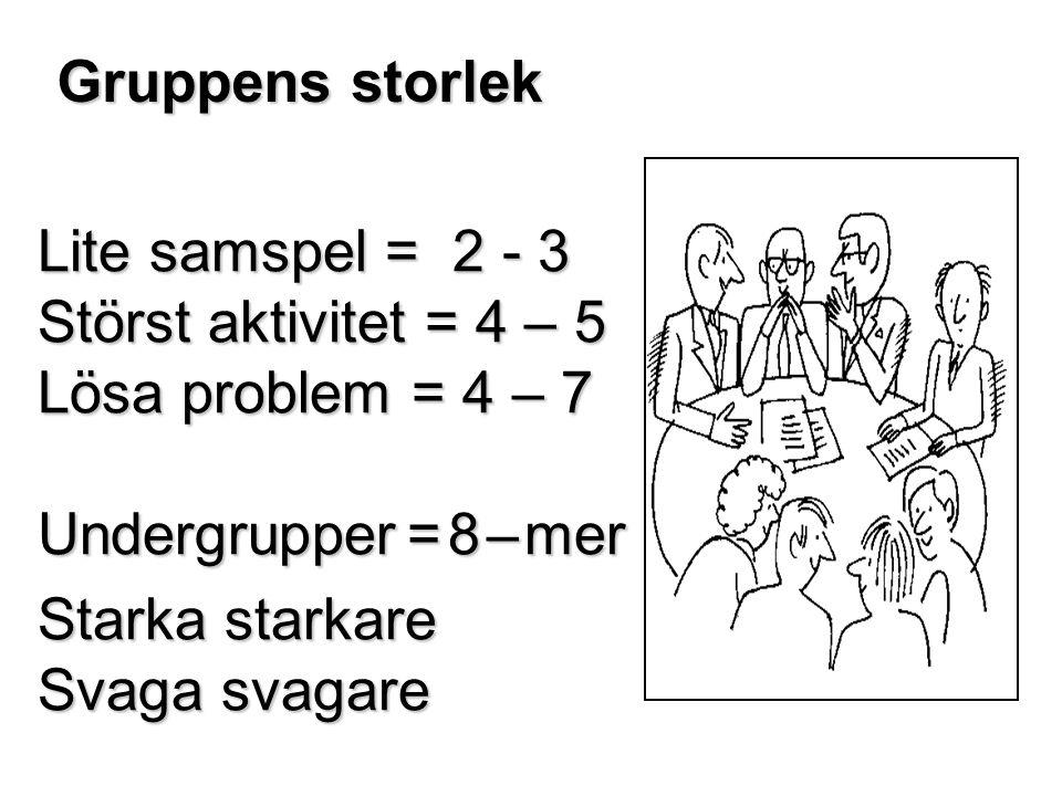 Gruppens storlek Lite samspel = 2 - 3. Störst aktivitet = 4 – 5. Lösa problem = 4 – 7. Undergrupper = 8 – mer.