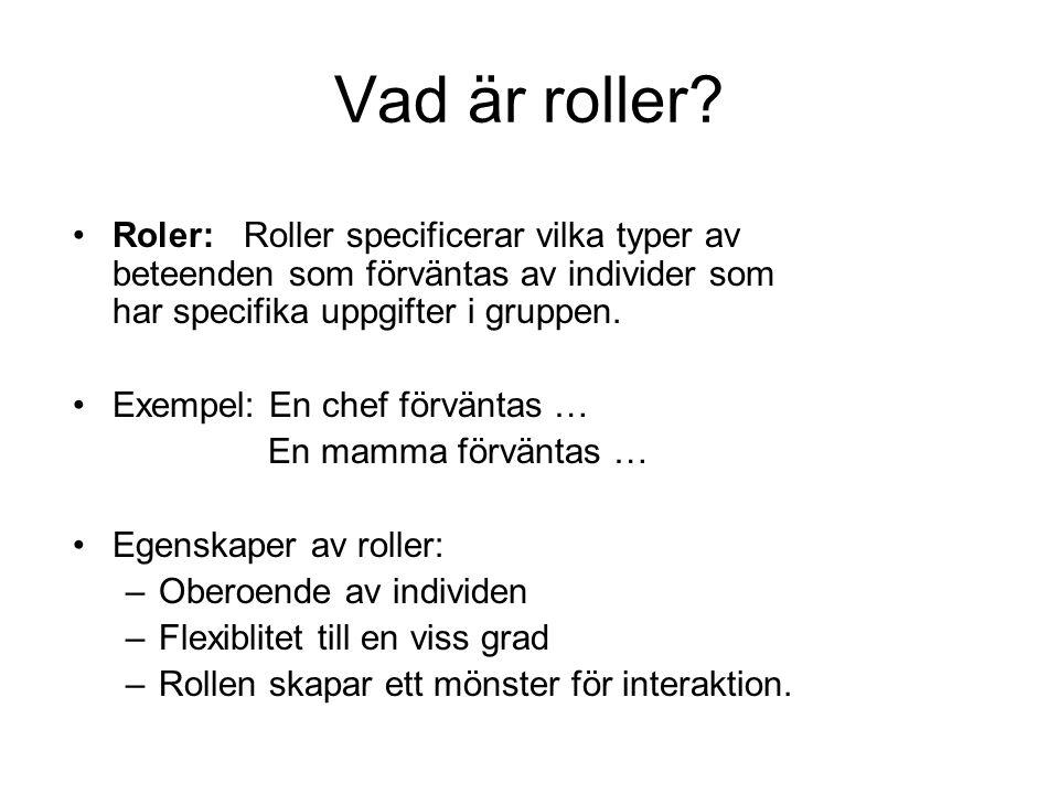 Vad är roller Roler: Roller specificerar vilka typer av beteenden som förväntas av individer som har specifika uppgifter i gruppen.