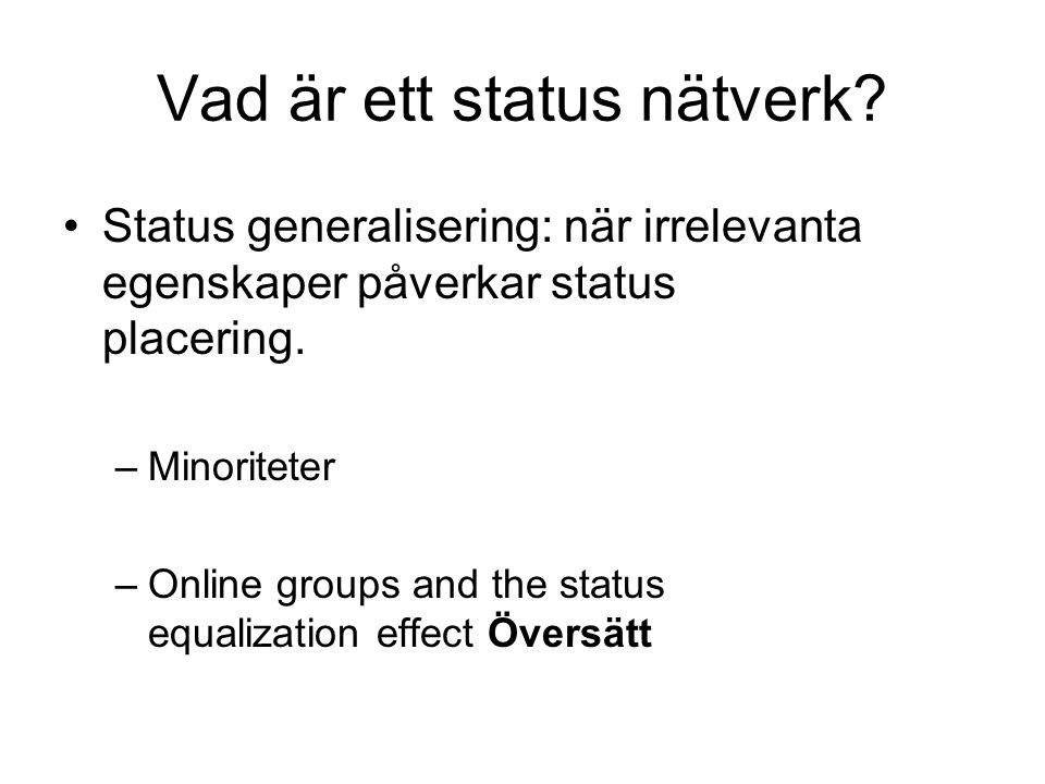 Vad är ett status nätverk