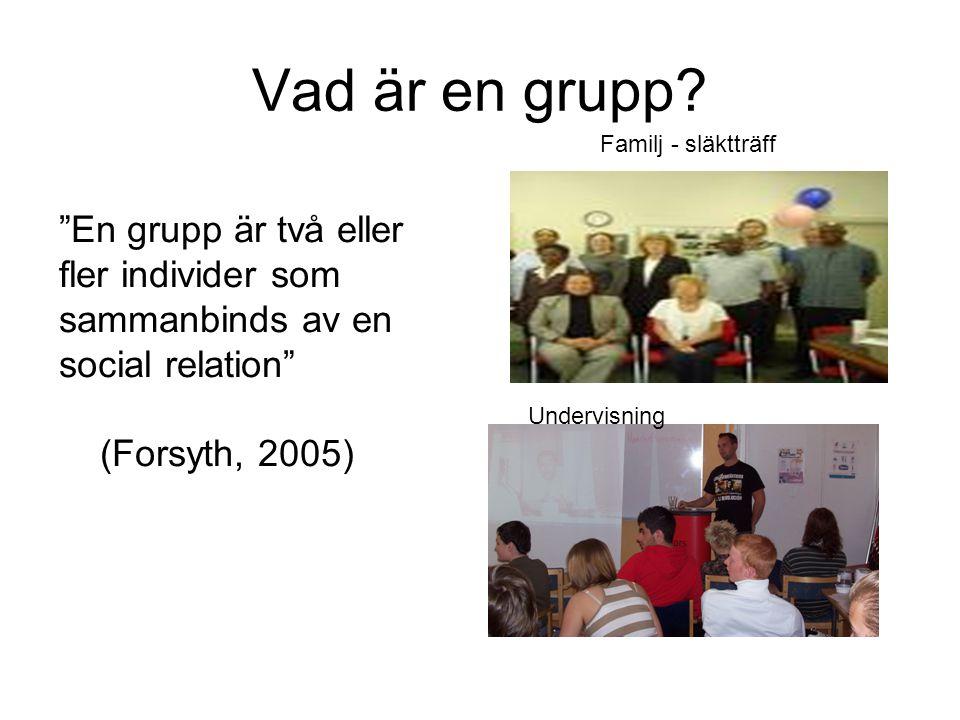 Vad är en grupp En grupp är två eller fler individer som