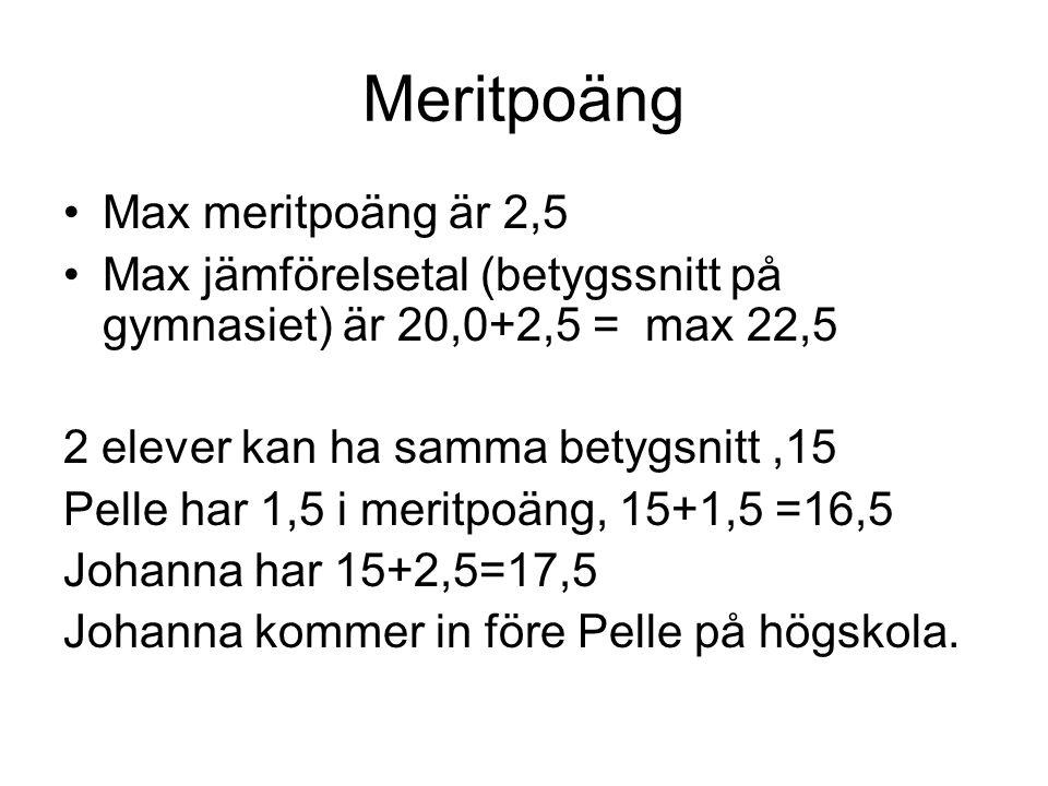 Meritpoäng Max meritpoäng är 2,5