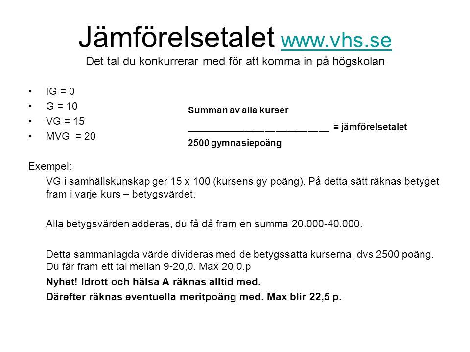 Jämförelsetalet www. vhs