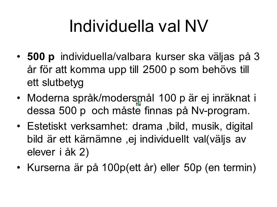 Individuella val NV 500 p individuella/valbara kurser ska väljas på 3 år för att komma upp till 2500 p som behövs till ett slutbetyg.