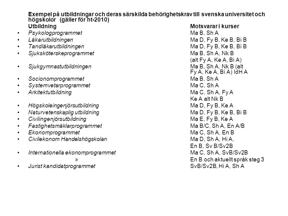 Exempel på utbildningar och deras särskilda behörighetskrav till svenska universitet och högskolor (gäller för ht-2010)