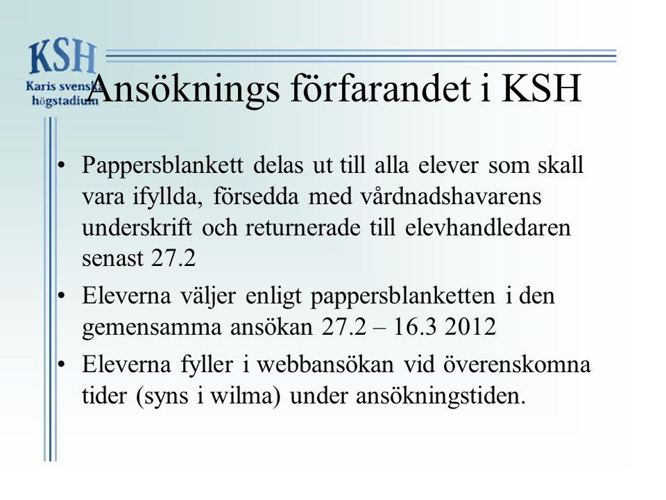 Ansöknings förfarandet i KSH