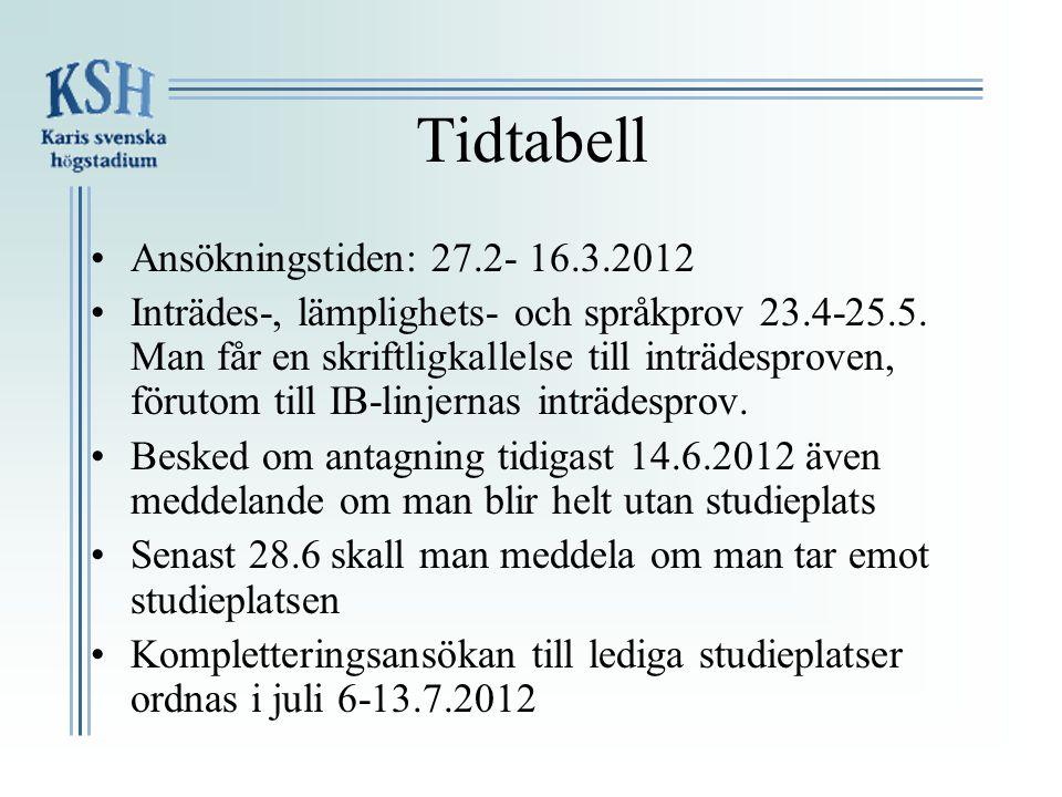 Tidtabell Ansökningstiden: 27.2- 16.3.2012