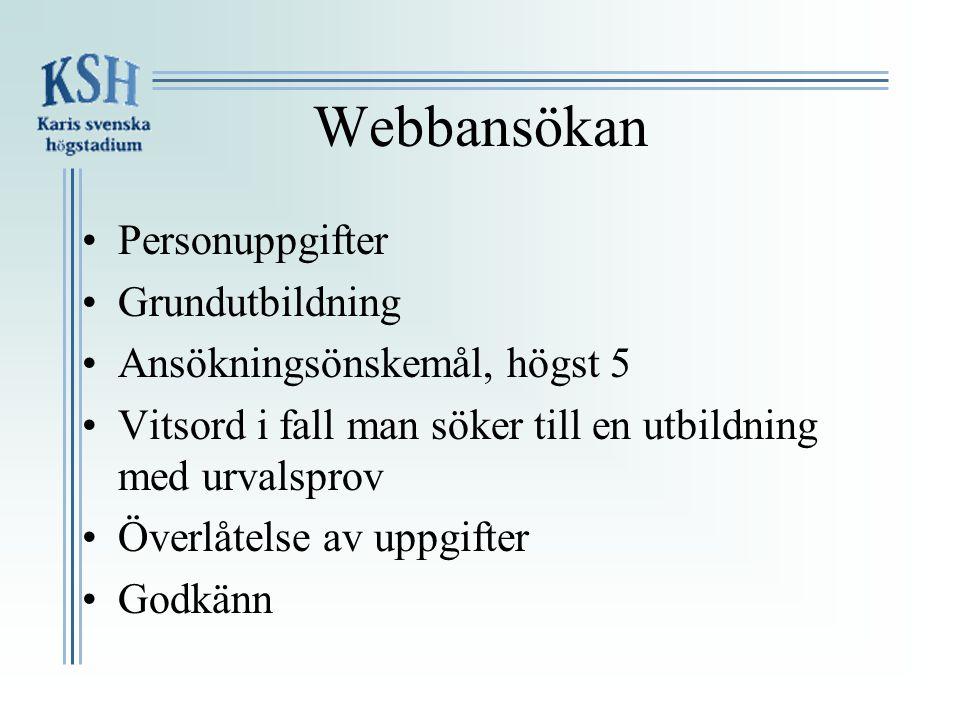 Webbansökan Personuppgifter Grundutbildning