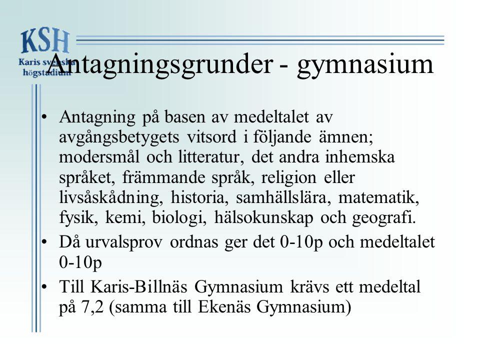 Antagningsgrunder - gymnasium