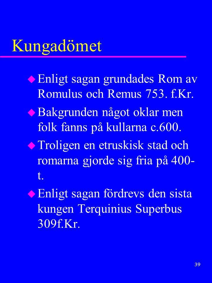 Kungadömet Enligt sagan grundades Rom av Romulus och Remus 753. f.Kr.
