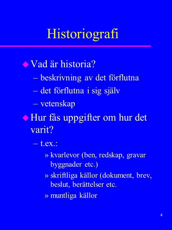 Historiografi Vad är historia Hur fås uppgifter om hur det varit