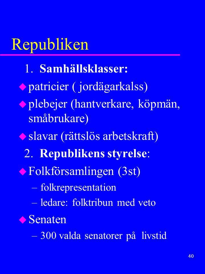 Republiken 1. Samhällsklasser: patricier ( jordägarkalss)