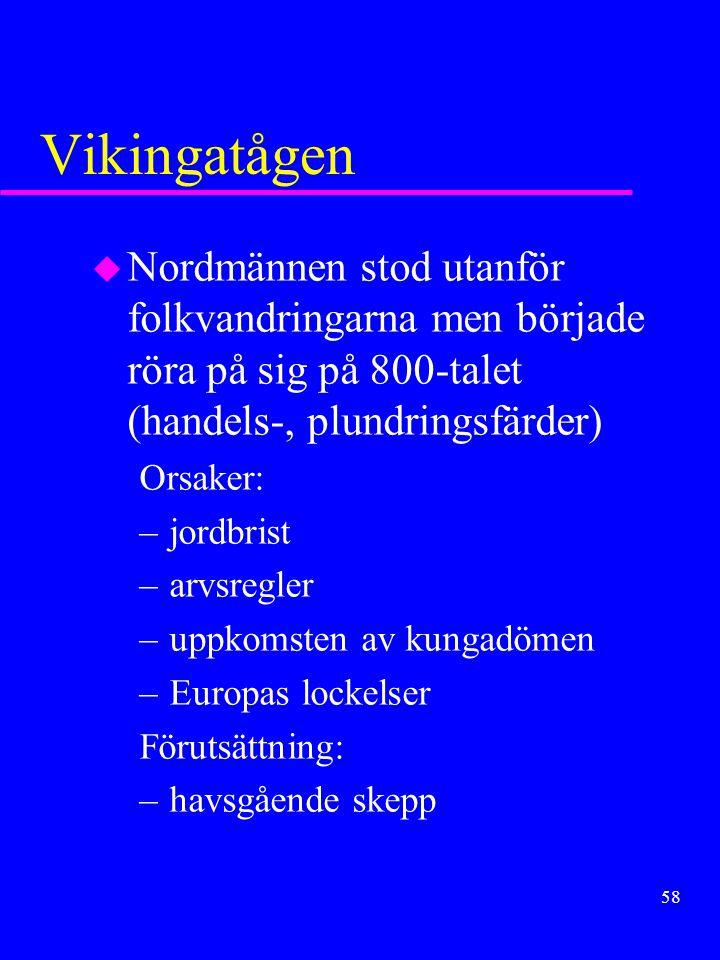 Vikingatågen Nordmännen stod utanför folkvandringarna men började röra på sig på 800-talet (handels-, plundringsfärder)