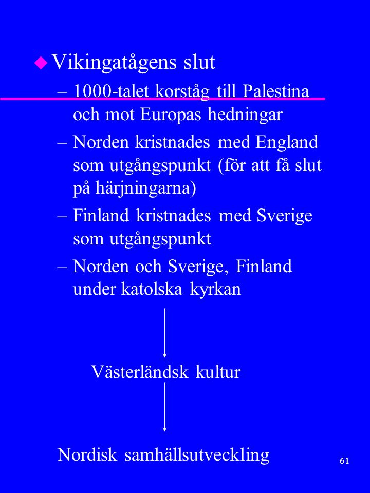 Vikingatågens slut 1000-talet korståg till Palestina och mot Europas hedningar.