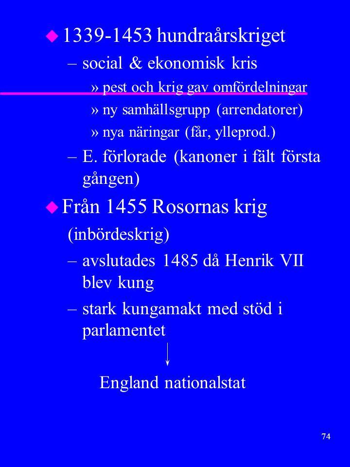 1339-1453 hundraårskriget Från 1455 Rosornas krig