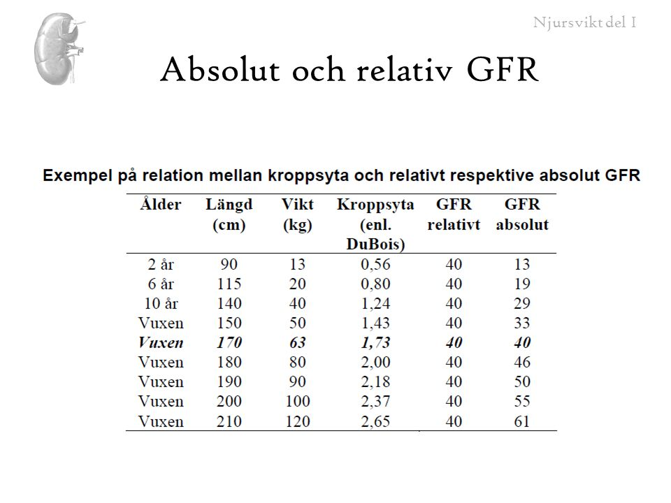 Absolut och relativ GFR