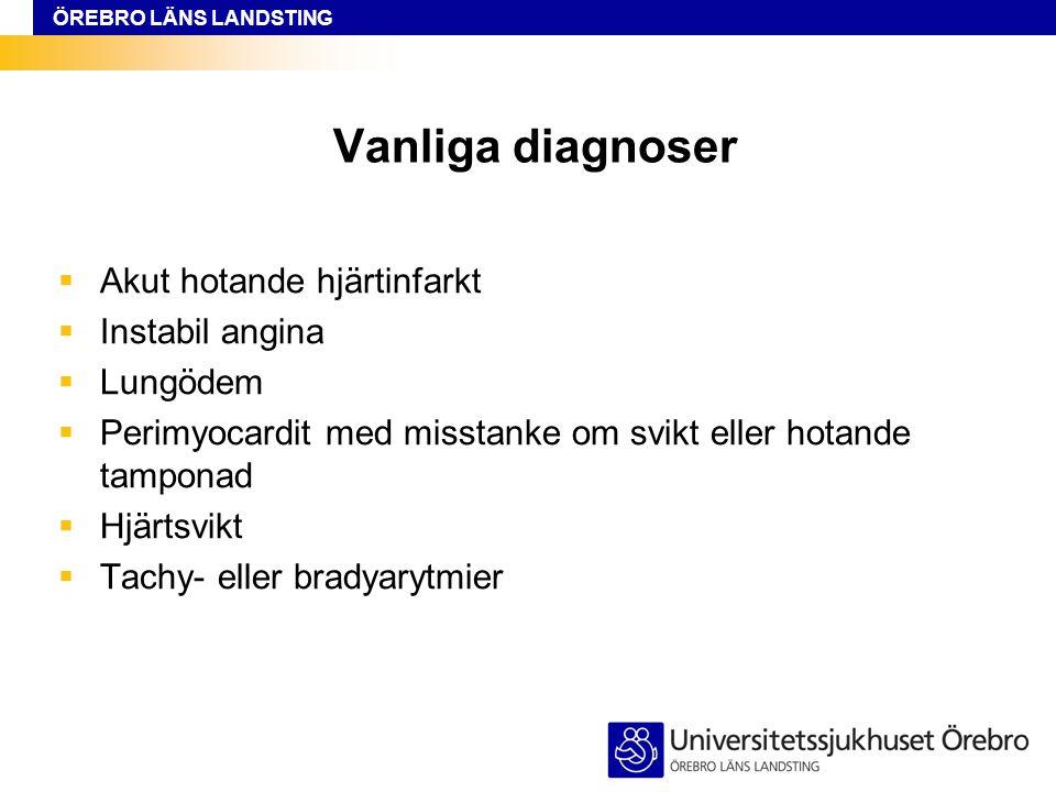 Vanliga diagnoser Akut hotande hjärtinfarkt Instabil angina Lungödem