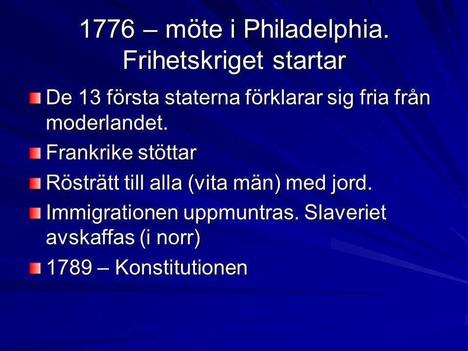 1776 – möte i Philadelphia. Frihetskriget startar