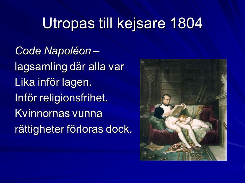Utropas till kejsare 1804 Code Napoléon – lagsamling där alla var