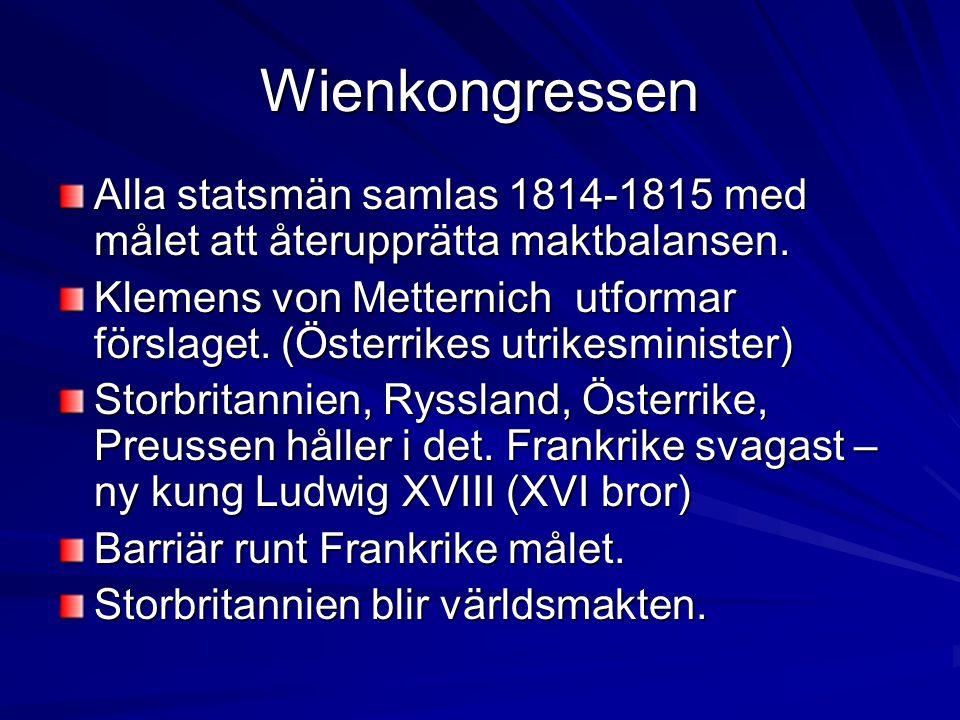 Wienkongressen Alla statsmän samlas 1814-1815 med målet att återupprätta maktbalansen.