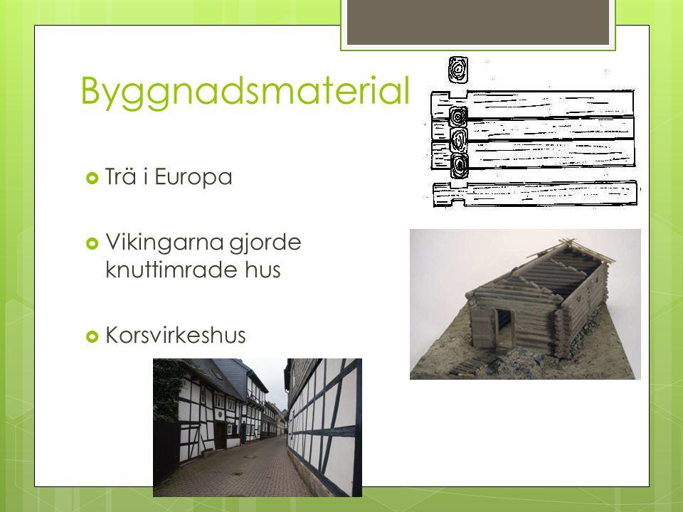 Byggnadsmaterial Trä i Europa Vikingarna gjorde knuttimrade hus