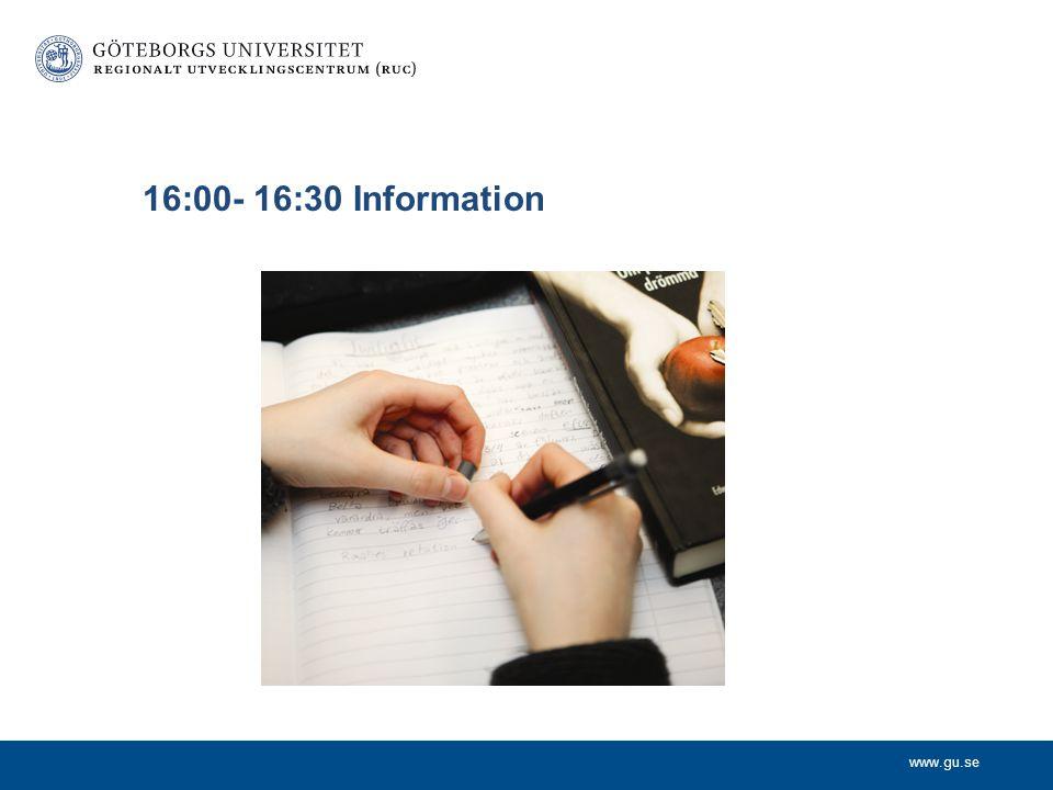 16:00- 16:30 Information