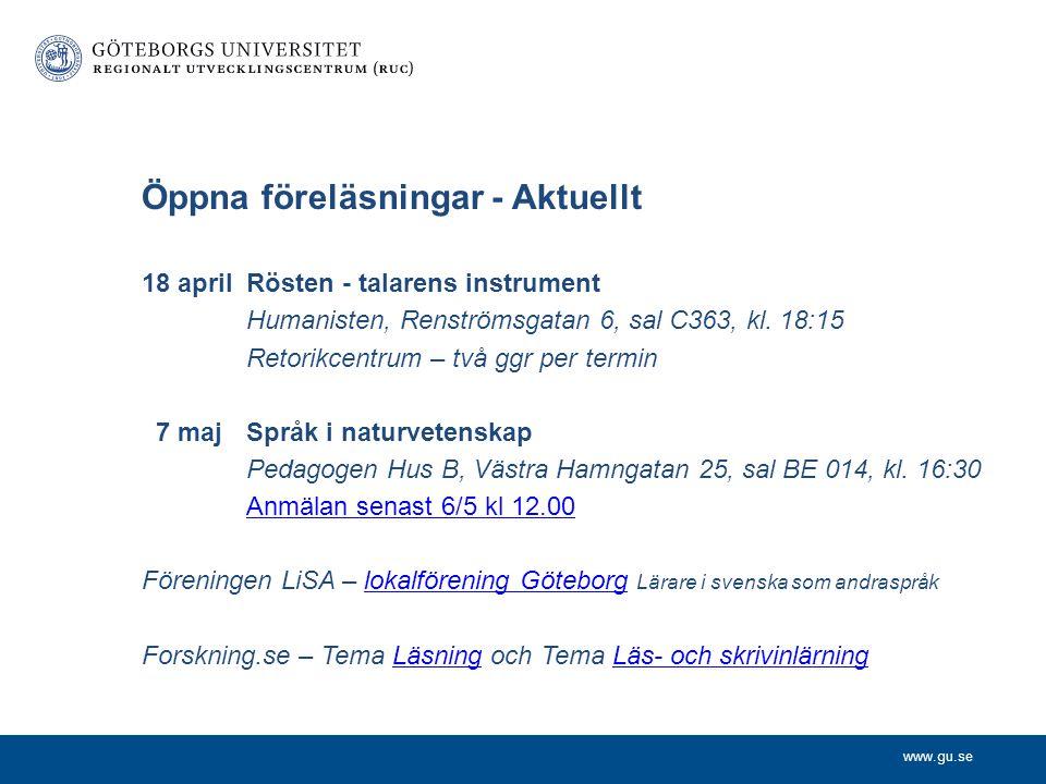 Öppna föreläsningar - Aktuellt