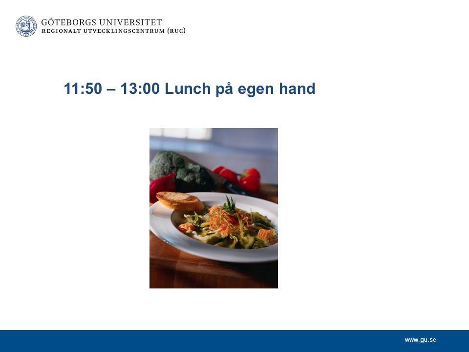 11:50 – 13:00 Lunch på egen hand