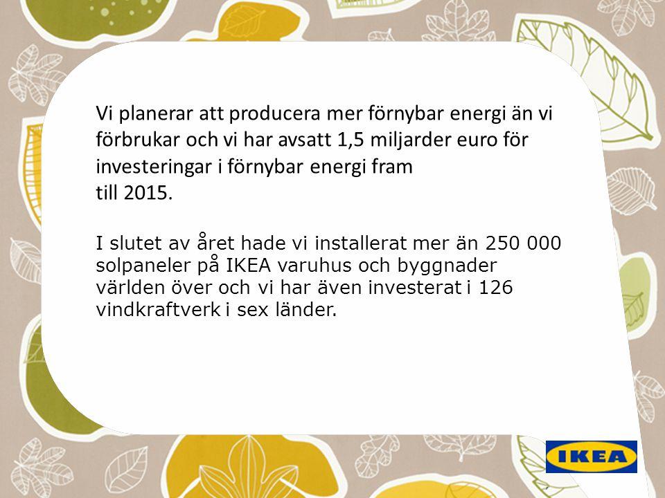 Vi planerar att producera mer förnybar energi än vi förbrukar och vi har avsatt 1,5 miljarder euro för investeringar i förnybar energi fram