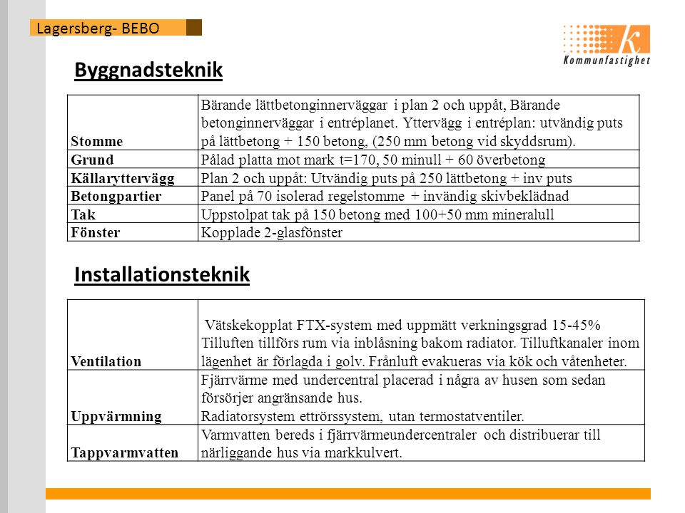Byggnadsteknik Installationsteknik Lagersberg- BEBO Stomme