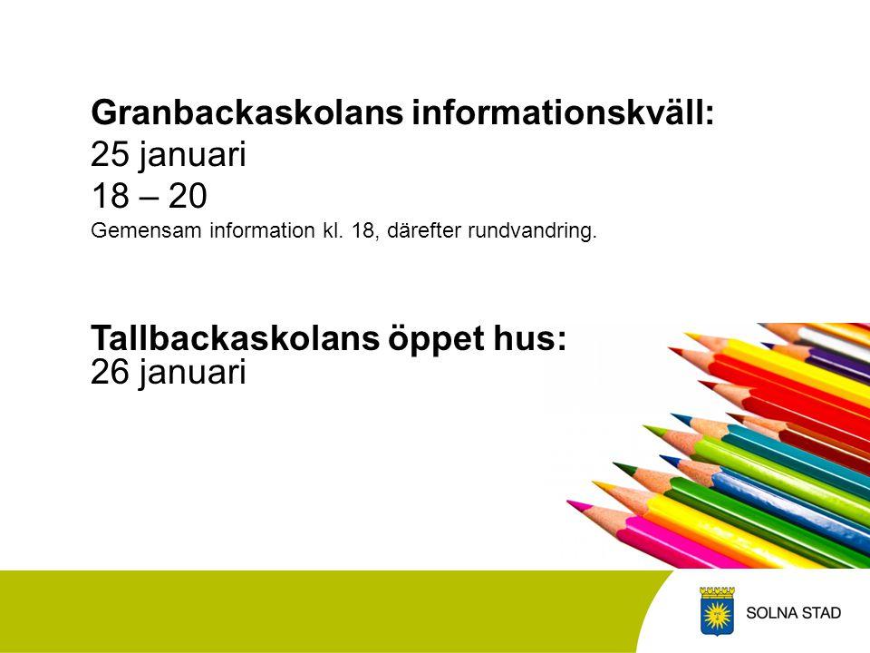 Granbackaskolans informationskväll: 25 januari 18 – 20 Gemensam information kl. 18, därefter rundvandring.