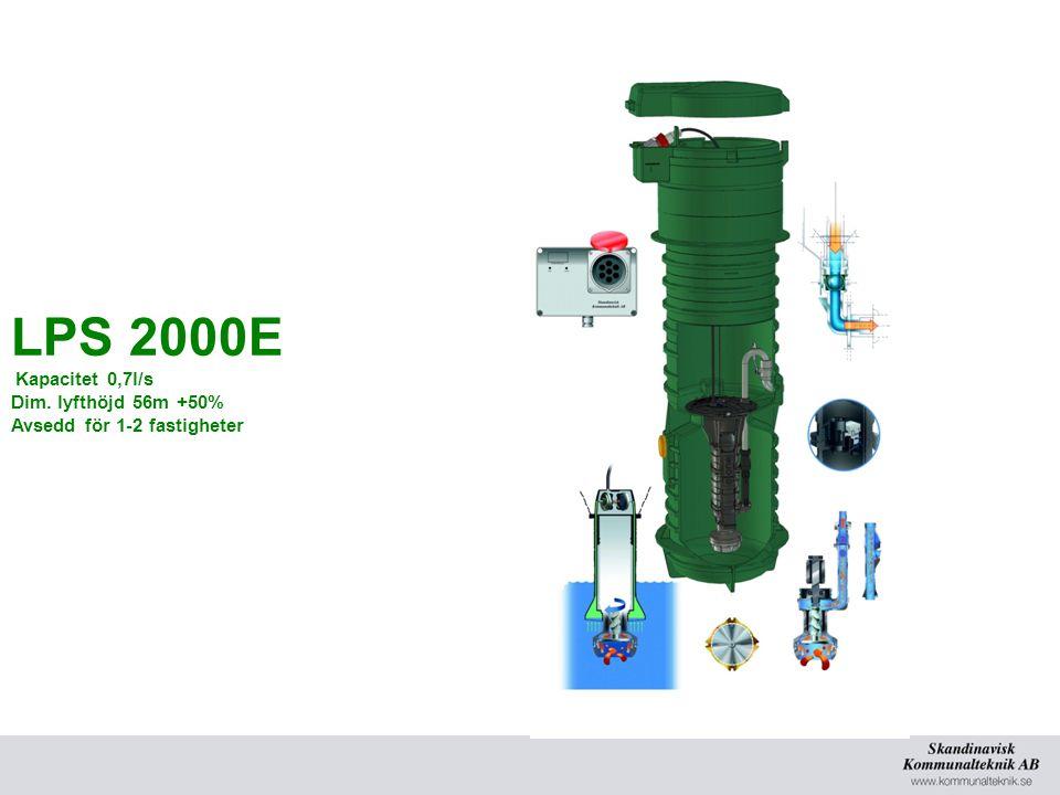 LPS 2000E Kapacitet 0,7l/s Dim. lyfthöjd 56m +50% Avsedd för 1-2 fastigheter