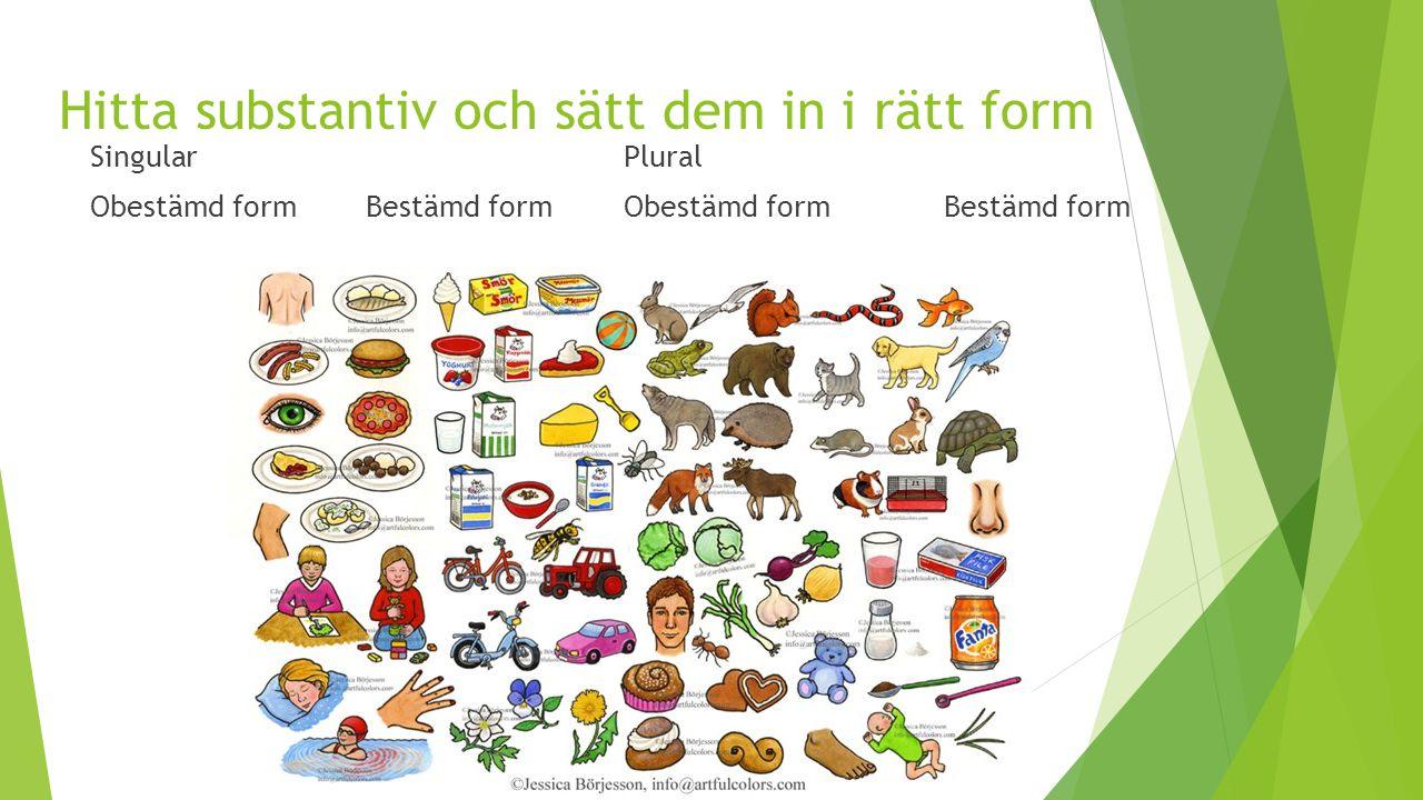 Hitta substantiv och sätt dem in i rätt form