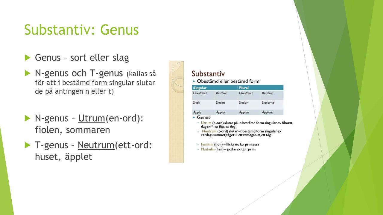 Substantiv: Genus Genus – sort eller slag