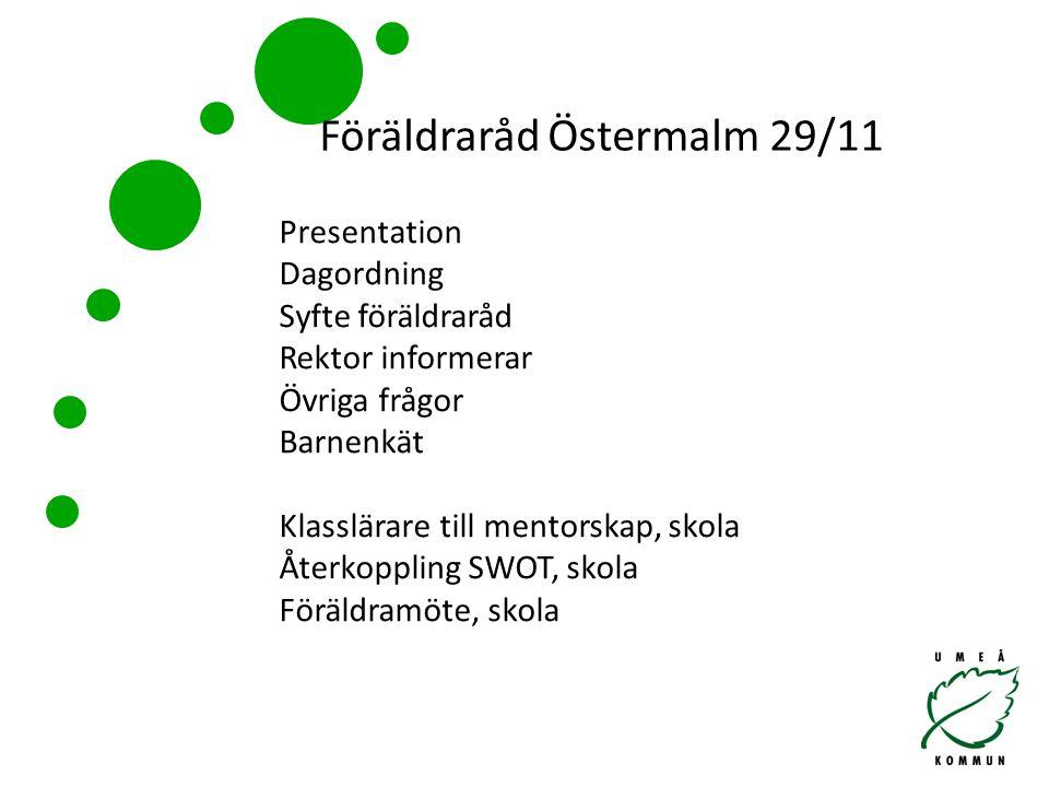 Föräldraråd Östermalm 29/11