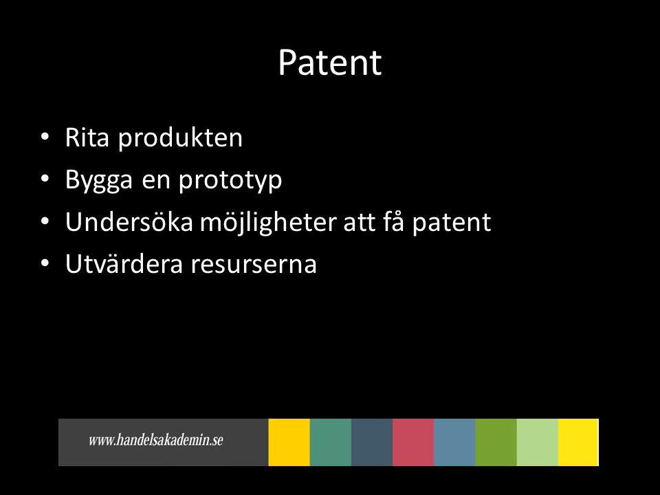 Patent Rita produkten Bygga en prototyp