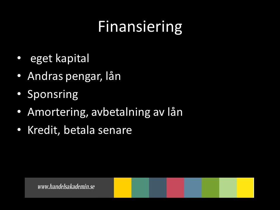 Finansiering eget kapital Andras pengar, lån Sponsring