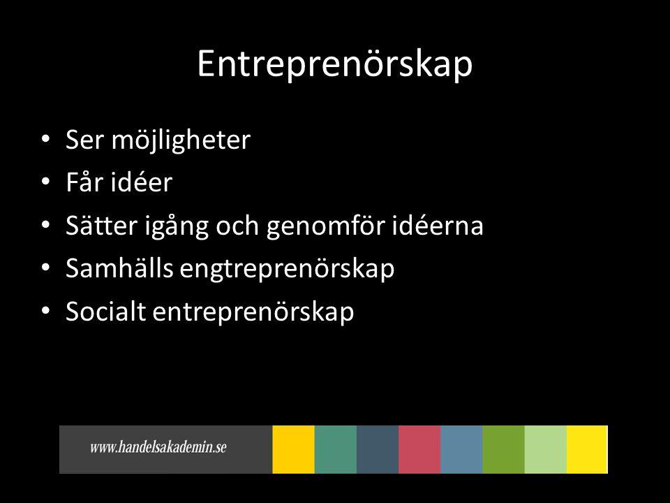 Entreprenörskap Ser möjligheter Får idéer