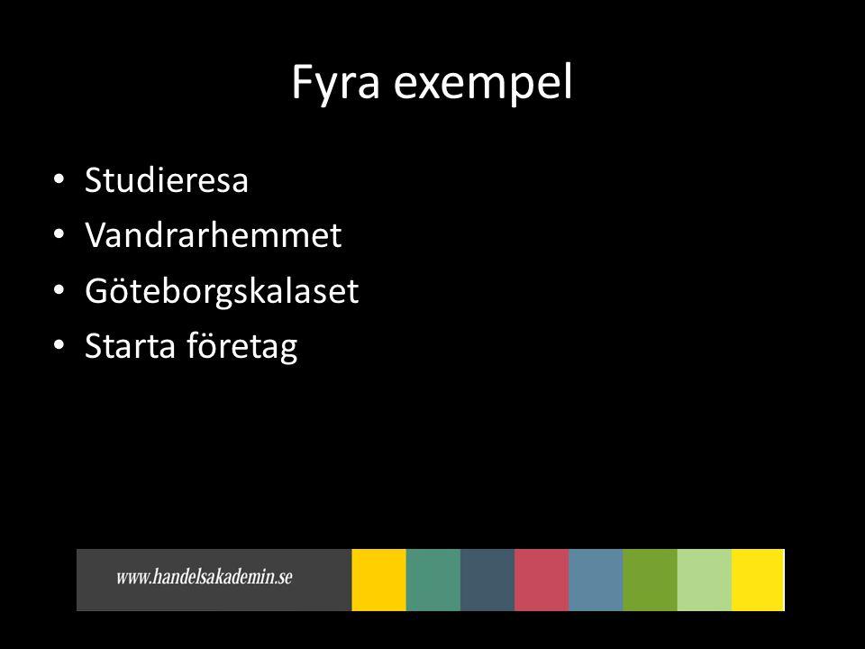 Fyra exempel Studieresa Vandrarhemmet Göteborgskalaset Starta företag
