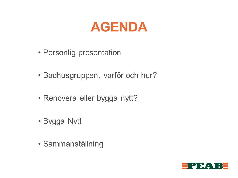 AGENDA Personlig presentation Badhusgruppen, varför och hur
