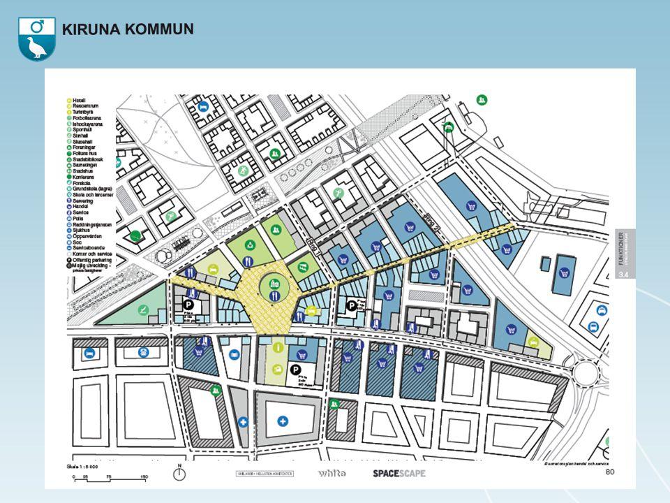 Kärnan med torget och stadshuset med konstmuseum. Handelsgata mot E10
