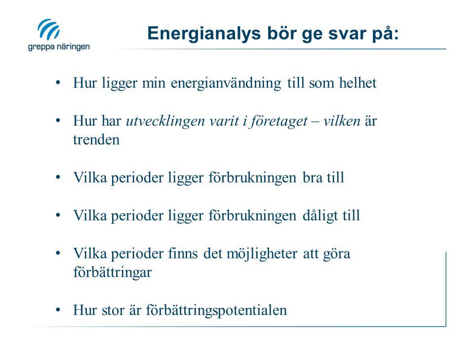 Energianalys bör ge svar på: